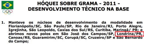 Relatório enviado ao COB: núcleo em Londrina?